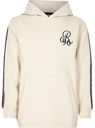 River Island Boys Beige 'R96' embroidered tape side hoodie