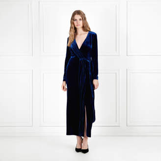 Rachel Zoe Aly Velvet Faux Wrap Midi Dress