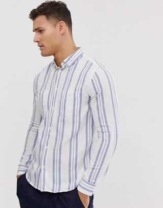 Burton Menswear shirt with double stripes in blue