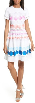 Women's Ted Baker London Myley Marina Mosaic Skater Dress $295 thestylecure.com