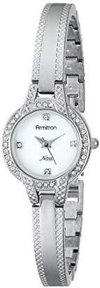 Swarovski Armitron Women's 75/5219MPSV Crystal Accented -Tone Textured Bangle Watch