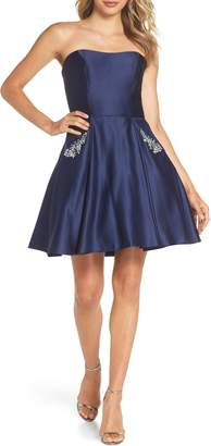 Blondie Nites Embellished Satin Fit & Flare Dress