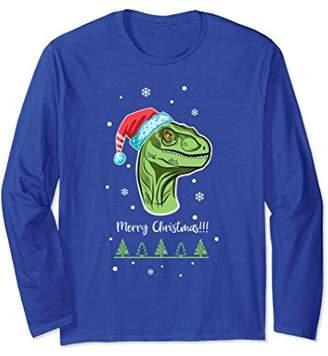 Santa Hat Raptor Christmas long sleeve T-shirt. Dinosaur Tee