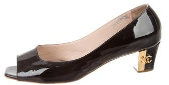 Chanel Patent Leather Peep-Toe Pumps