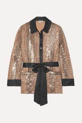 Temperley London Platinum Silk Satin-trimmed Sequin-embellished Chiffon Shirt - Gold