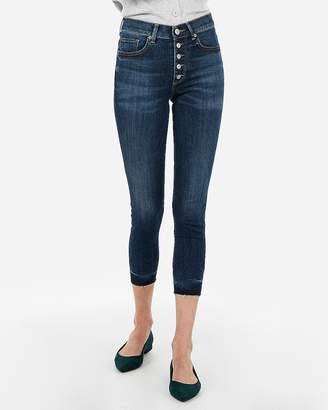 Express High Waisted Button Fly Cropped Jean Leggings