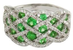 EFFY COLLECTION Tsavorite and Diamond Ring in 14 Kt. White Gold 2