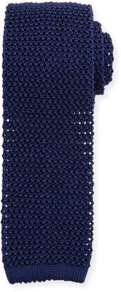 Ralph Lauren Silk Knit Flat-End Skinny Tie, Navy