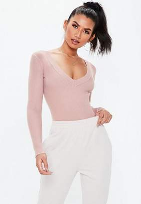 Missguided Petite Pink Ultimate Plunge Knit Bodysuit