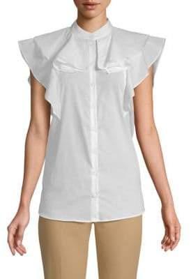 Givenchy Ruffle Cotton Button-Down Shirt