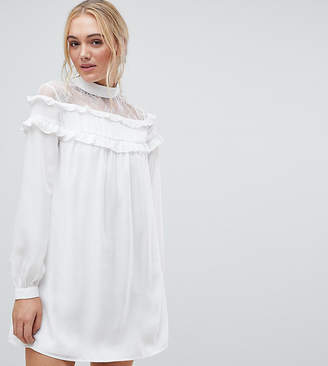 Fashion Union Tall High Neck Dress With Lace Contrast And Ruffle Detail