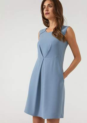 Emporio Armani Flared Sleeveless Dress With Central Front Pleat