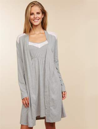 Motherhood Maternity Lace Trim Nursing Nightgown And Robe
