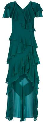 Badgley Mischka High Low Ruffle Gown