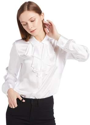 LILYSILK Feminine Cascade Front 18MM Silk Blouses XL