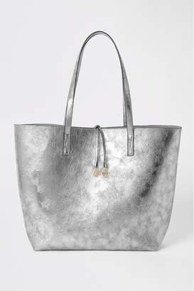River Island Womens Silver Metallic Summer Shopper - Silver