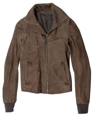 Rick Owens Rib Knit-Trimmed Pilot Leather Jacket