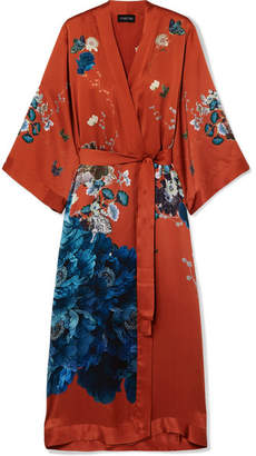 MENG - Printed Silk-satin Robe - Brick