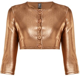Lisa Marie Fernandez Cropped Metallic Cardigan - Womens - Bronze