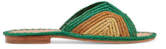 Carrie Forbes - Salon Color-block Woven Raffia Slides - Green