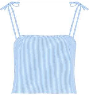 Solid & Striped Staud X The Bora Bow-Detailed Striped Cotton-Seersucker Camisole