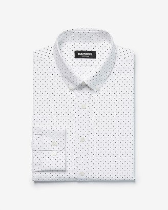 Express Slim Dot Print Wrinkle-Resistant Performance Dress Shirt
