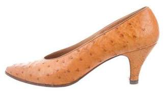 Hermes Ostrich Pointed-Toe Pumps
