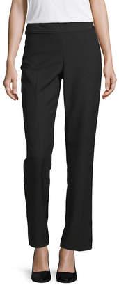 Liz Claiborne Womens Mid Rise Straight Flat Front Pant
