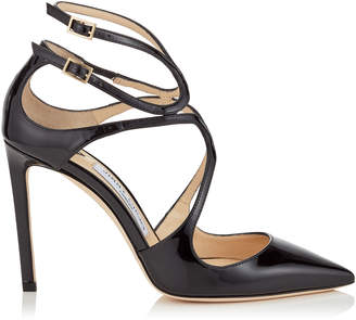 Jimmy Choo LANCER 100 Black Patent Leather Pointy Toe Pumps