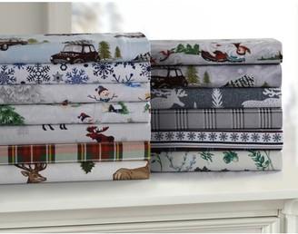 Tribeca Living Winter Reindeer 170-GSM Cotton Flannel Printed Oversized Duvet Set