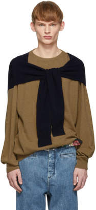 Loewe Beige and Navy Cashmere Shoulder Sleeve Sweater