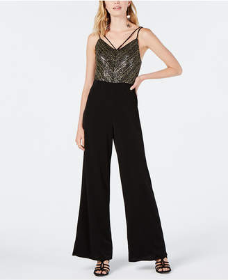 As U Wish Juniors' Sequined Jumpsuit