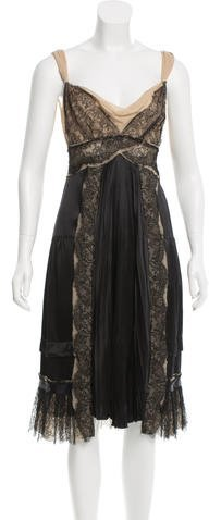 pradaPrada Silk Lace-Accented Dress