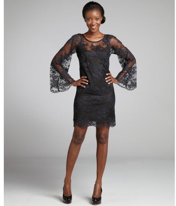 Nicole Miller black cotton floral lace long sleeve dress