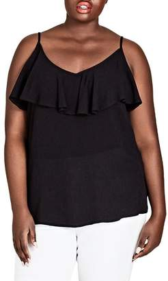 City Chic Island Holiday Ruffle Tank