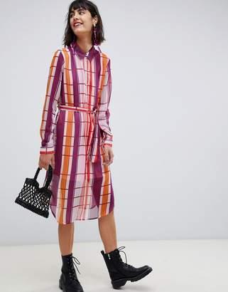 Pieces long sleeve sheer check midi shirt dress