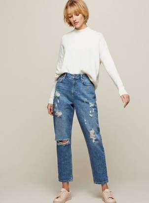 Miss Selfridge Boyfriend blue ripped jeans
