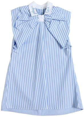 Striped Cotton Poplin Dress W/ Bow