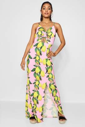 boohoo Lemon Print Ruched Front Maxi Dress