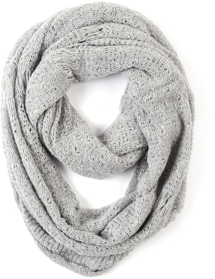 Paula Bianco Frayed Infinity Scarf in Light Grey