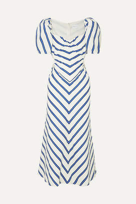 Alice McCall At Last Cutout Striped Cotton-poplin Midi Dress - White