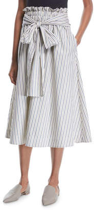 Rosetta Getty Wrap-Panel Striped Poplin Flared Midi Skirt