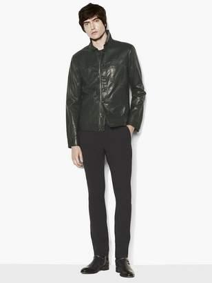 John Varvatos Leather Trucker Jacket