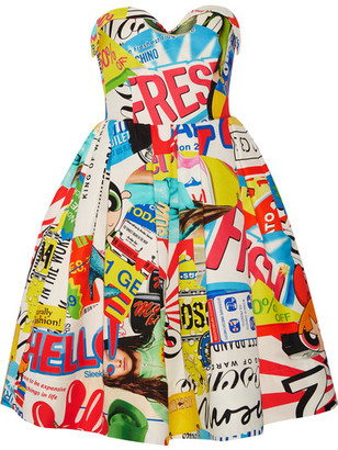Moschino - Strapless Printed Cotton-blend Faille Dress - Blue $1,895 thestylecure.com