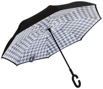 Evergreen Houndstooth Inverted Umbrella
