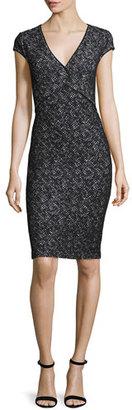 St. John Collection Crisscross Knit V-Neck Cap-Sleeve Dress, Caviar/Bianco $1,295 thestylecure.com
