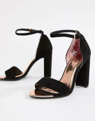534baee86 Ted Baker Black Suede Barely There Block Heeled Sandals