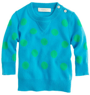 J.Crew Collection cashmere baby sweater in polka dot