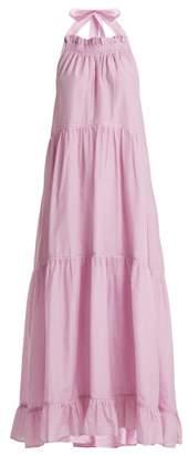 Lee mathews Mathews - Minnie Halterneck Cotton Blend Dress - Womens - Light Pink
