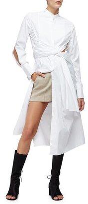 3.1 Phillip Lim Long-Sleeve Cotton Twist-Front Shirtdress, White $575 thestylecure.com